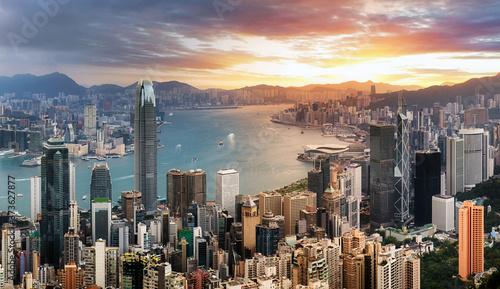 Foto Hong Kong panorama - dramatic sunrise from Victoria peak