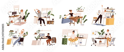 Set of different people practicing workout at workplace vector flat illustration Fototapeta