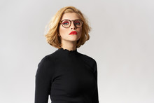 Blonde Girl With Glasses Red L...