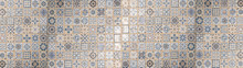 Beige Blue White Abstract Vintage Retro Geometric Square Mosaic Motif Tiles Texture Background Banner Panorama