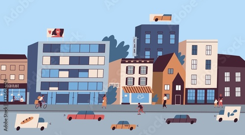 Foto Daily big city life with buildings, citizens, traffic cars vector flat illustration