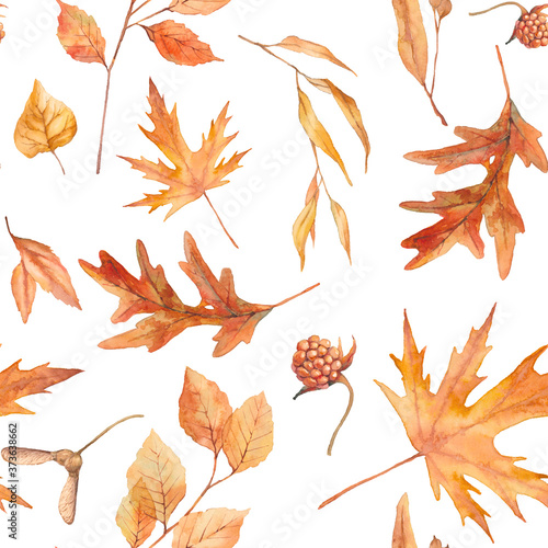 Autumn leaves seamless pattern. Watercolor floral ornate frame. Fototapeta