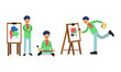Smiling Artist Man in Beret Painting on Canvas Vector Illustration Set