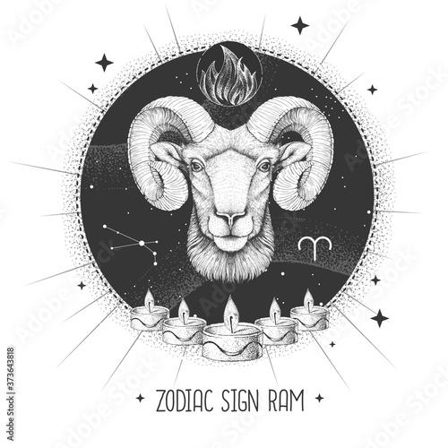 Obraz na plátně Modern magic witchcraft card with astrology Aries zodiac sign