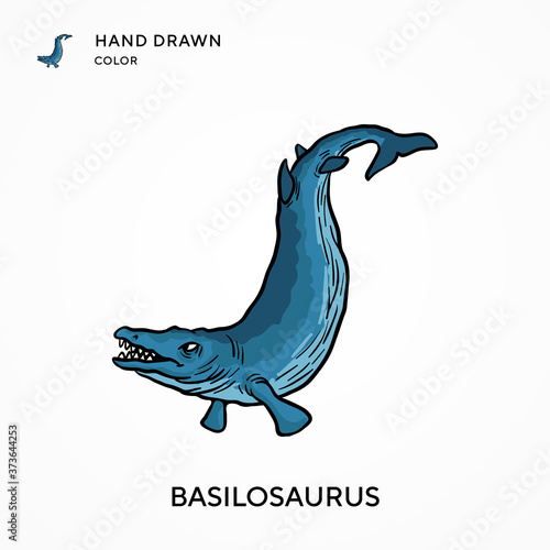 Fotomural Basilosaurus Hand drawn color icon