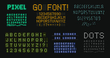 Digital Letters And Numbers Set. Scoreboard Style Alphabet. Dot Vector Typeface Designs For Score Board Typographic Posters, Ads, Tech Logo, Led Display On Sport Events, Digital Media,motion Graphic.