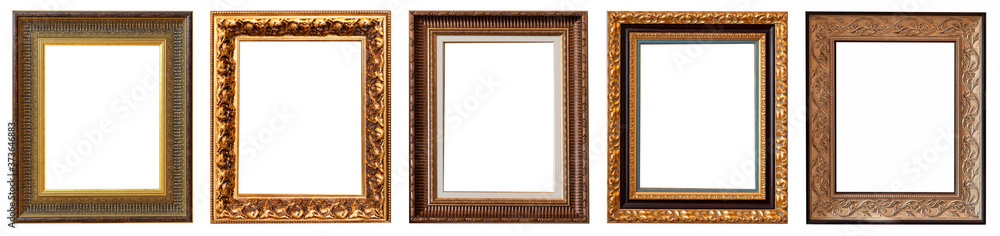 Fototapeta Frames baguettes gold silver set isolated on white background pattern.