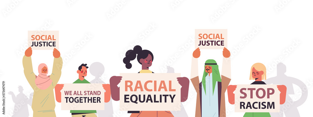Fototapeta mix race activists holding stop racism posters racial equality social justice stop discrimination concept horizontal portrait vector illustration