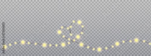 Canvastavla Heart of Gold garland bulbs on transparent background