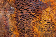 Detailed Closeup Macro Photo Of Rust On The HMQS Gayundah Shipwreck At Woody Point, Queensland