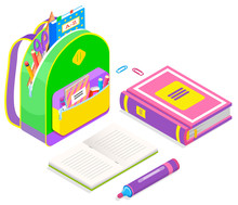 Colorful Backpack Full Of School Supplies Isolated On White. Textbook, Felt-tip Pen, Paper Clips, Copybook With Green Cover, Paper Scissors And Eraser. Stationery Isometric Style Vector Illustration
