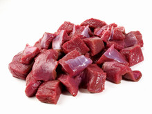 Raw Roe Deer Ragout - Wild Game Meat On White Background - Isolated