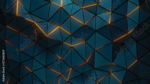 Canvastavla Dark polygonal surface with glow edges 3D render illustration