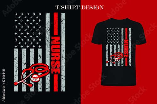 nurse American Flag 4th Of July t-shirt Fototapet