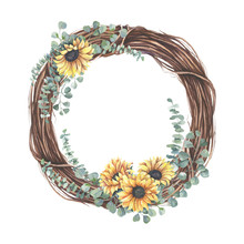 Pre Made  Collection, Frame - Cards With Yellow  Sunflower Bouquets, Eucalyptus Leaf Branches. Wedding Ornament Concept. Floral Poster, Invite.