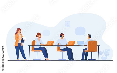 Canvas Print Young operators working in call center isolated flat vector illustration