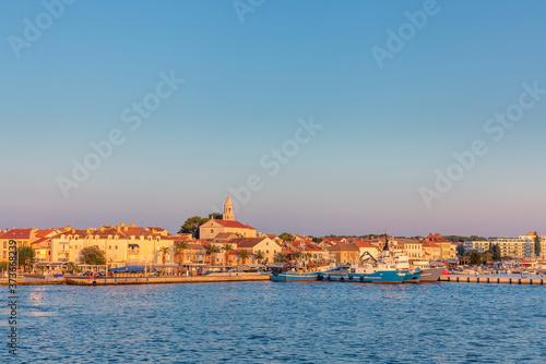 Photo view to skyline in sunset to biograd na Moru in Croatia