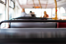 The Top Deck Of A London Double Decker Bus, With Soft Focus