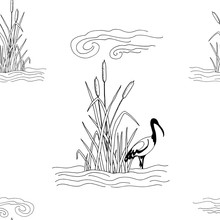 Art & Illustration. Seamless Pattern Stylized Drawing Of Cattail In Water With Clouds And Ibis. Legends Of Egypt.