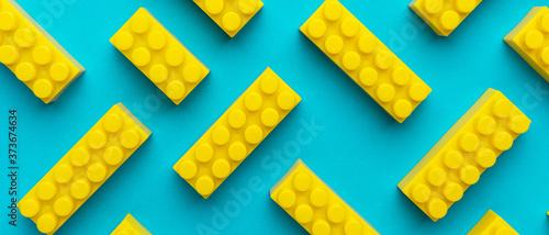 Fotografie, Obraz Top view of plastic blocks background
