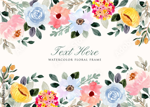 delicate flower garden watercolor background frame