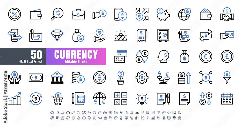 Fototapeta Vector of 50 Currency FInancial Bicolor Line Outline Icon Set. 48x48 Pixel Perfect Editable Stroke.