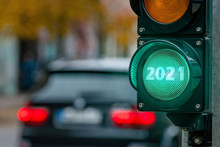 A City Crossing With A Semaphore. Green Light With Text 2021 In Semaphore. New Year Concept.