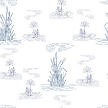 Art & Illustration.  Seamless Pattern Stylized Drawing Blooming Lotus And Cattail. Legends Of Egypt.