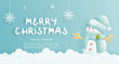 Christmas card, celebrations with cute snowman and Christmas scene , vector illustration.