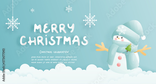 Leinwand Poster Christmas card, celebrations with cute snowman and Christmas scene , vector illustration