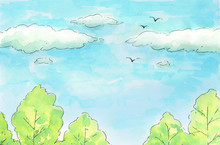 Hand Drawn Watercolor Illustration Bright Sky And Trees. Decoration, Texture, Print And Pattern.