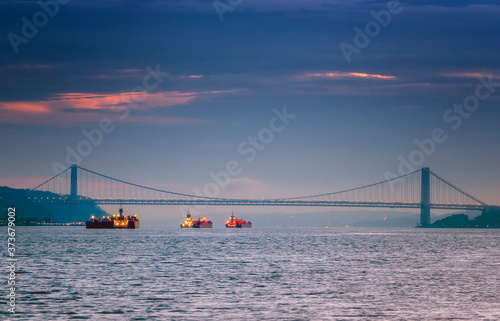 Summer Sunrise on Hudson River - George Washington Bridge Canvas Print