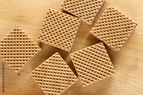 Fototapeta Crispy wafers with chocolate and hazelnut cream