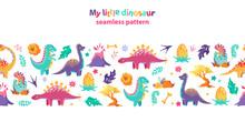 Childish Seamless Pattern, Border. Cute Little Dinosaurs On A White Background.