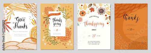 Trendy abstract Thanksgiving templates. Good for invitation, card, flyer, cover, banner, placard and brochure. - 373691213