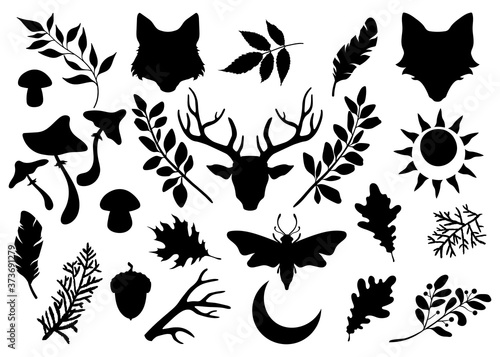 Fotografering Black silhouettes of animals and plants on a white background