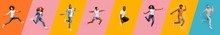 Collage Of Excited Joyful Multiracial People Jumping Over Bright Color Backgrounds, Panorama