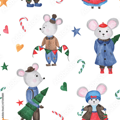 Christmas pattern with mice