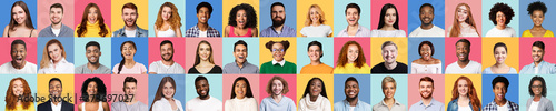 Set Of Different People Faces On Colorful Studio Backgrounds