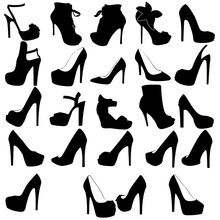 Women's Shoes Silhouette, Set With Heels And Platform