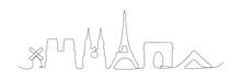 Paris City Skyline One Line Ve...