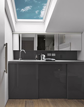 Modern Bathroom Interior In The Attic Room With Wooden Floor And The Skylight