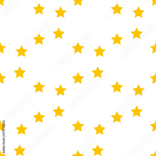 Fotomural Seamless pattern with simple yellow stars on white background