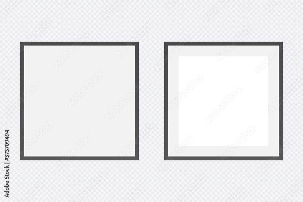 Fototapeta Photo Frames isolated on white, realistic square black frames mockup, vector set. Perfect for your presentations