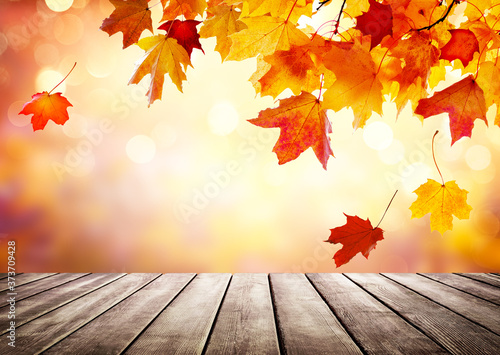 Fotografie, Obraz Autumn golden abstract background with bokeh light and colorful leaves