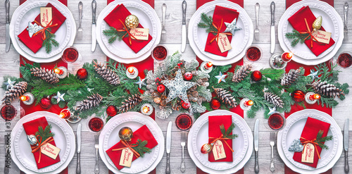 Fotomural Christmas holidays table setting concept