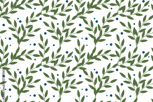 Vector floral seamless pattern in natural farmhouse style with cute simple branches, berries, leaves Tapéta, Fotótapéta