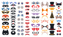 Party Photo Booth Props Set. Photobooth Elements Collection. Constructor With Face Masks And Glasses, Vintage Party Hats And Birthday Costume Bunny Ears Isolated On White Background