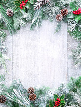 Christmas And New Year Background With Fir Branches