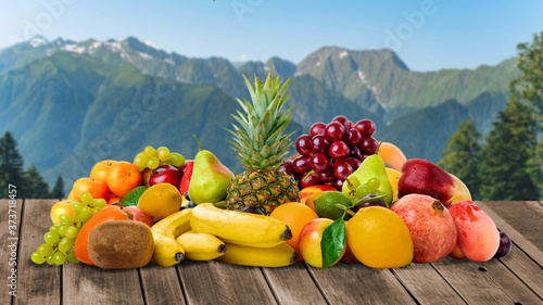 Obraz Fresh fruits. Tropical Fruits On The Table - fototapety do salonu